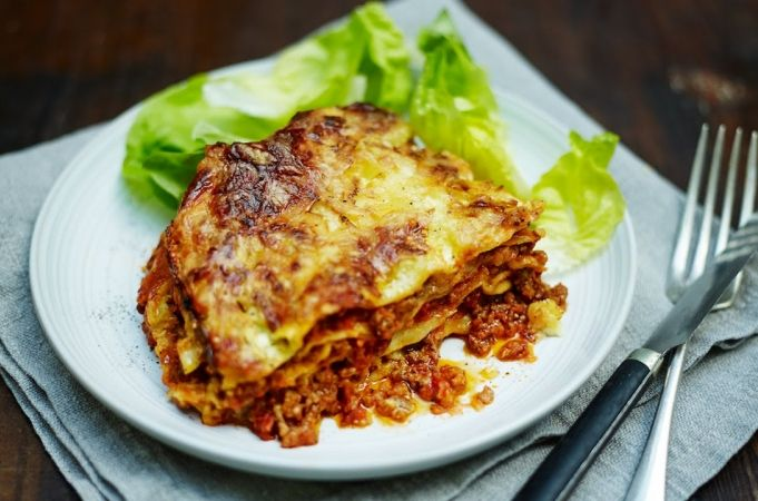 Easy Family Lasagne - substituted lentil for pork mince and green onions for leeks and added some Indian spices to the Ragu as well as mushrooms and zucchini