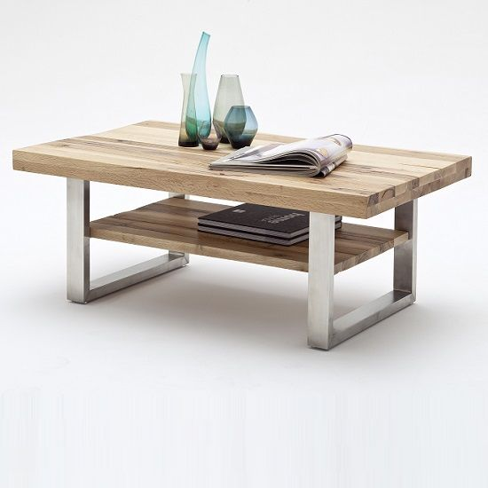 Fabricated Steel Coffee Table: Clapton Wooden Coffee Table In Wild Oak And Stainless