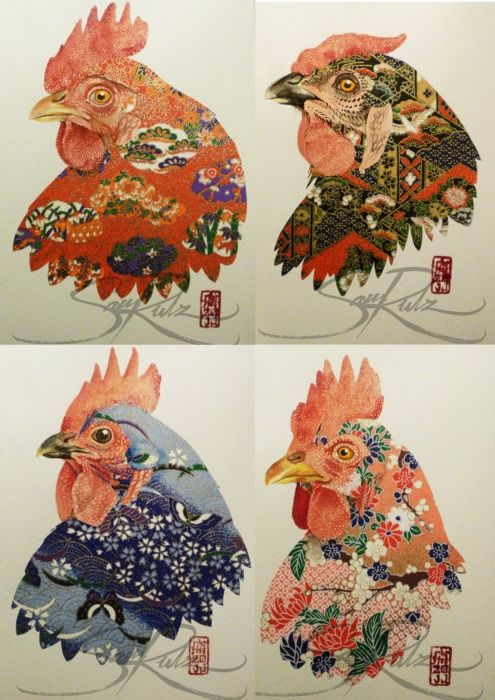 collage watercolor   Inspired / Origami paper collage watercolor paintings