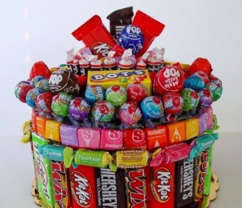 It is so easy to make a Candy Cake and you can make them single layer or tiered. They look fabulous and make a wonderful homemade gift.