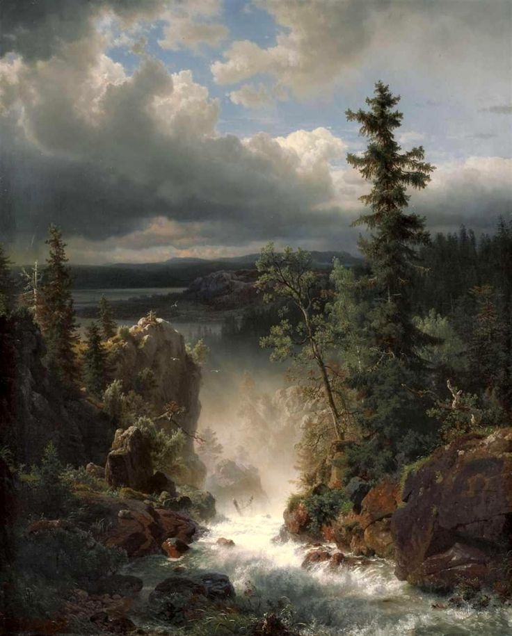 Andreas Achenbach –  Wildbach (c. 1835-1910)