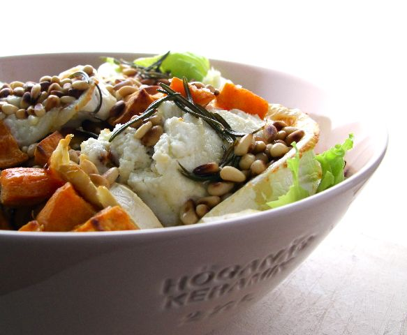 Roasted sweet potatoes and goat's cheese in a salad sounds like a very good idea.