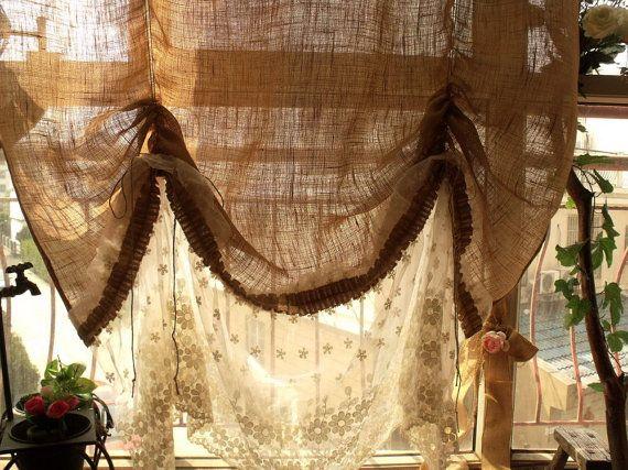 Curtains Ideas cream burlap curtains : 17 Best ideas about Tie Up Curtains on Pinterest | Basement window ...