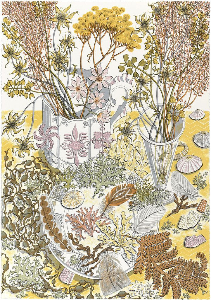 "Angie Lewin's ""Nature Study, Late Summer"", a screen print commissioned by Pallant House Gallery to celebrate their exhibition 'David Jones - Visions and Memory' http://www.stjudesprints.co.uk/collections/angie-lewin/products/nature-study-late-summer"