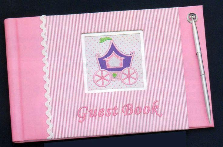 Βιβλίο ευχών βάπτισης με άμαξα πριγκίπισσας