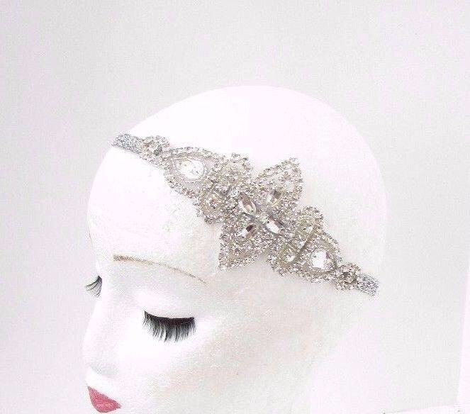 Silver Diamante Rhinestone Headband 1920s Great Gatsby Flapper Headpiece 3839 by Starcrossedbeauty on Etsy https://www.etsy.com/uk/listing/542475448/silver-diamante-rhinestone-headband