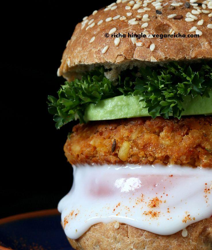 Spicy Chickpea Lentil Burger | Vegan Richa