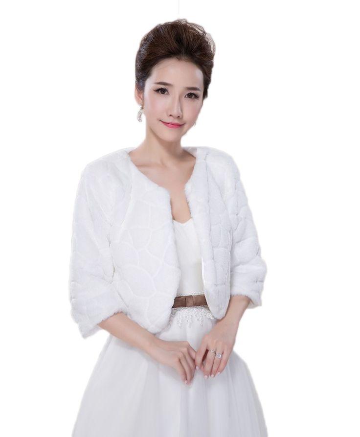 >> Click to Buy << Warm Bridal Jacket Wraps Half Sleeves Wedding Bolero Faux Fur Wedding Coat Bridal Shawls for Wedding Gowns faux fur stoles #Affiliate