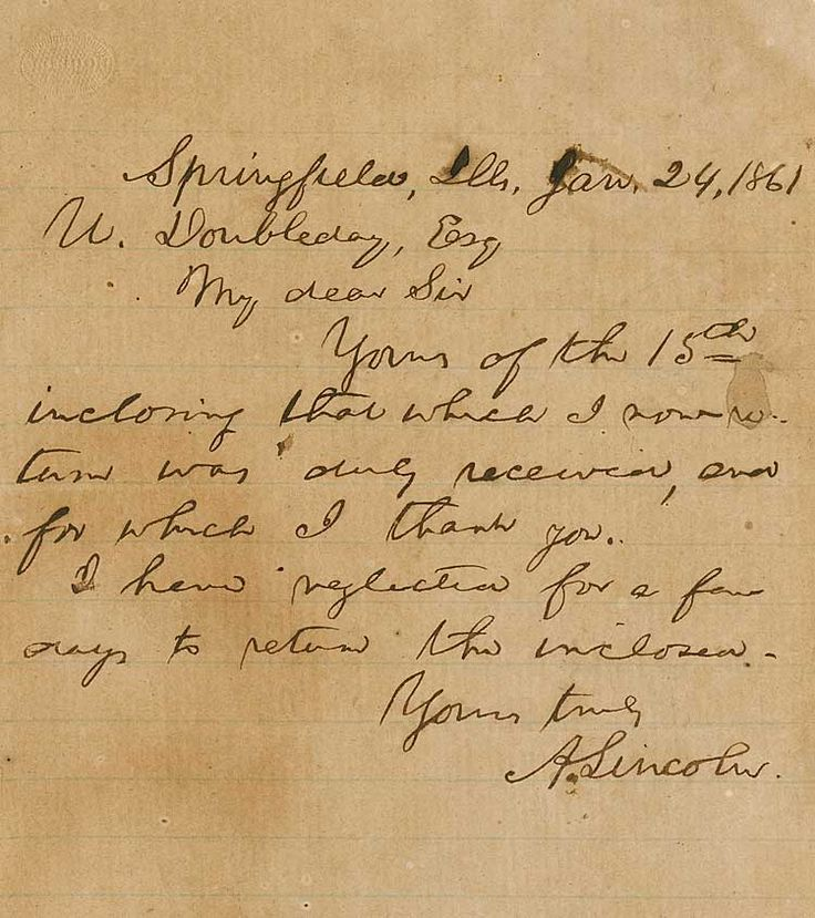 Abraham Lincoln Autograph. In January 1861, he acknowledges a private communication, originally sent by code, from his strongest supporter on-site, Abner Doubleday