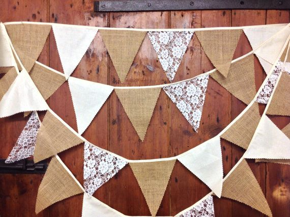 Burlap, Lace & Calico Wedding Bunting Banner Fantastic Flag to Flag Style 34ft 10mts 58 Flags a Rustic Themed Must.