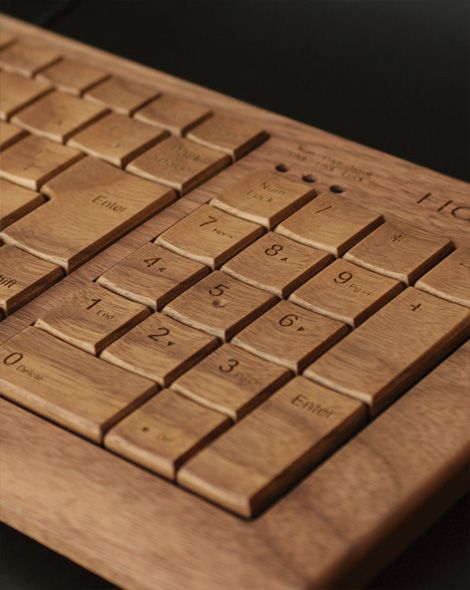 Wooden keyboard.