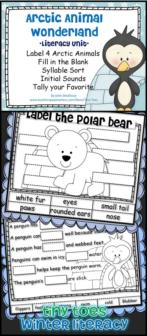 $3.25 Arctic Animals Literacy/Science Unit w Penguins, Seals, Walrus', Polar Bears Label, Fill in the Blank, Syllable Sort, Initial Sounds, Tally your Favorite $