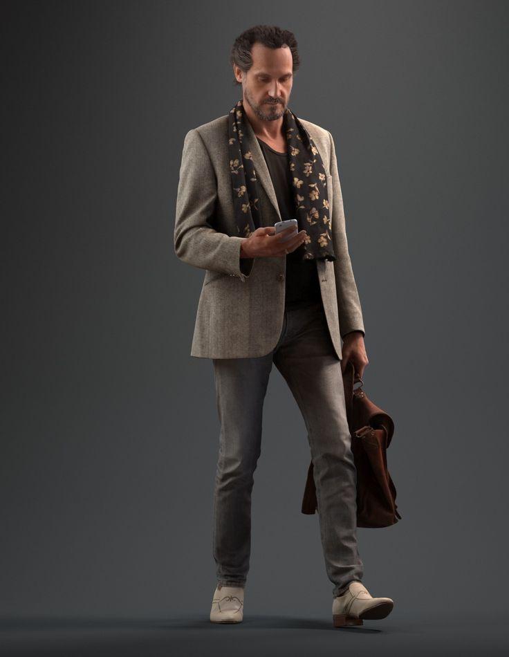 max walking man realistic male