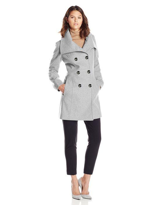 Anne Klein Women's Double-Breasted Fold-Collar Wool-Blend Coat