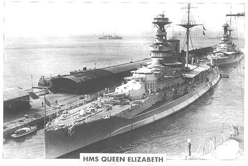 """HMS Queen Elizabeth (commissioned 1914) The five completed Queen Elizabeth class battleships (one cancelled) were the finest battleships built by any power in WWI. Excellent gun power, very high speed for the day, good armor. 4 x 2 15""""/42 cal. BL Mk. 1, 14-16 6"""" guns, Speed 24 knots. Probably the all-time best capital ships built by the RN. Prior to the 1920's, the British would build 11 other battleships or battlecruisers. 10 ships were distinctly inferior, quality of the 11th is arguable."""
