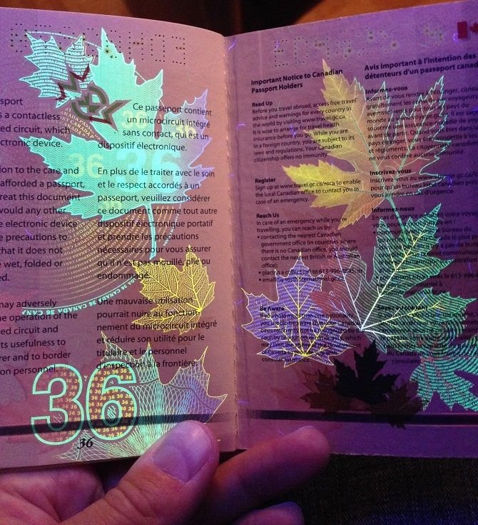 The Amazing Design Of The New Canadian Passport Under Black Light