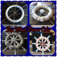 Nautical Ship Wheel Diaper Cake