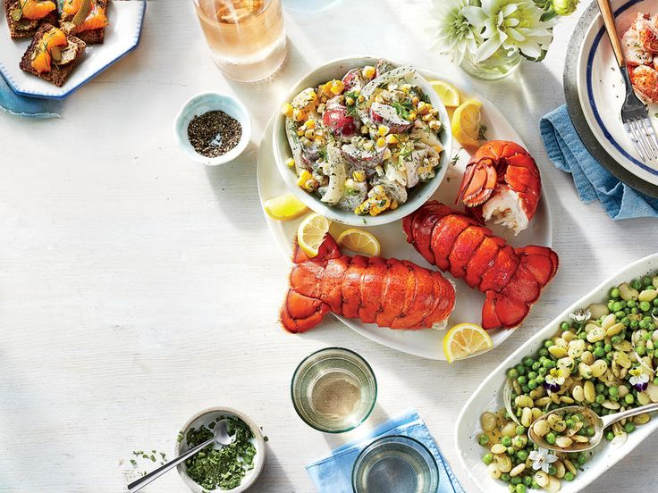 Break out the bibs for a summer lobster boil. Tip: Use kitchen scissors to cut down each tail for easier eating.