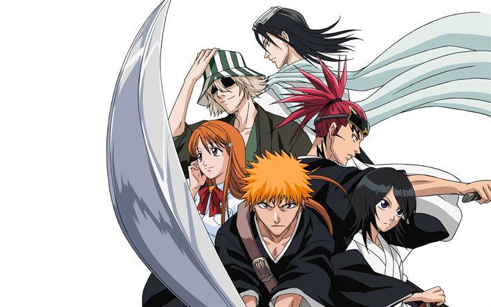 Download wallpapers Bleach, 4k, Japanese anime, manga, Ichigo Kurosaki, Renji Abarai, Rukia Kuchiki, Kisuke Urahara, Byakuya Kuchiki