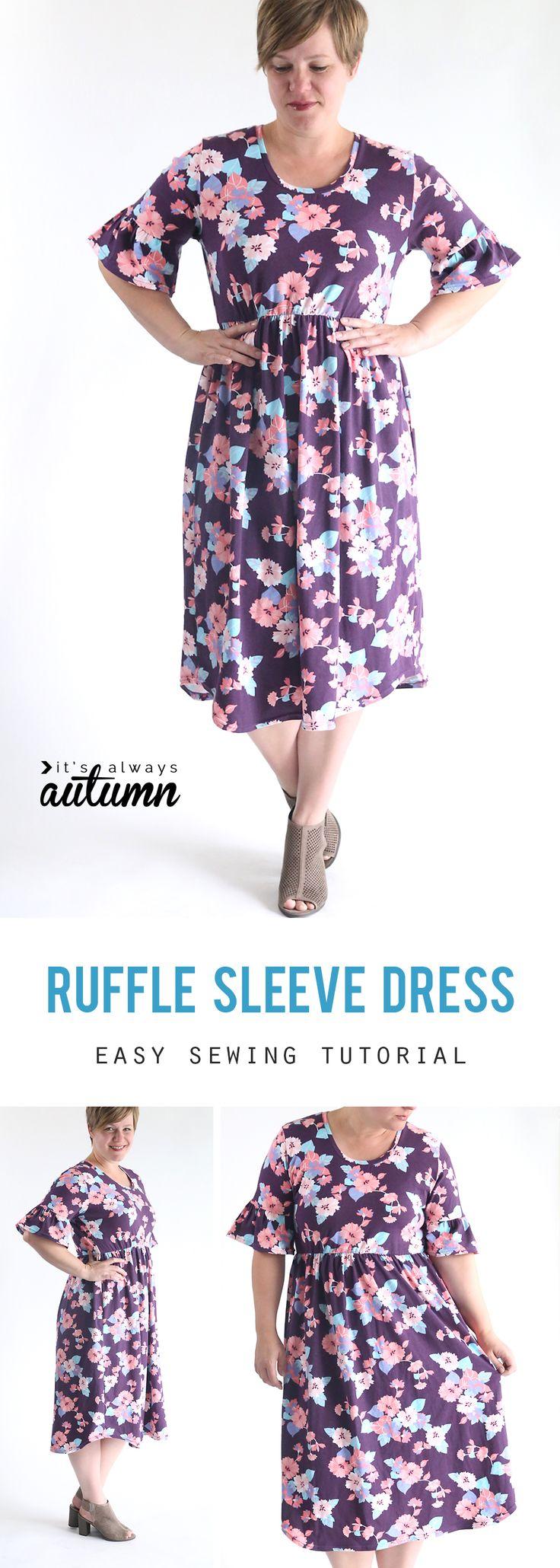 Imparare a cucire un manicotto volant carino (manicotto campana) vestito con solo un modello maglietta!  Semplice tutorial per cucire.  Come fare un vestito.