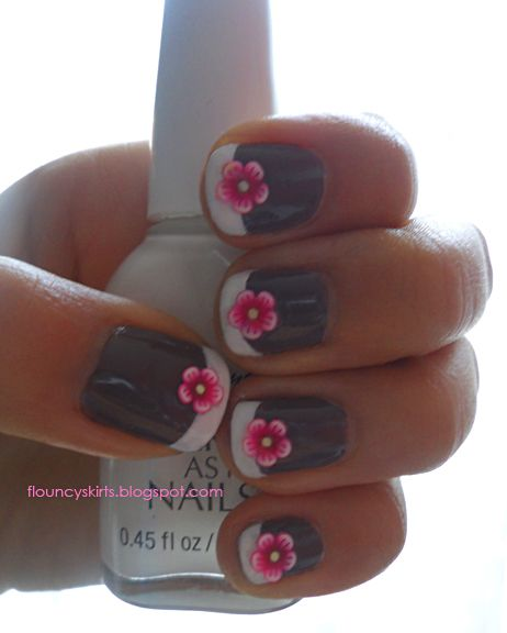 Nails: Pink Flower, French Manicures, Nails Design, Flower Nails, Pretty Nails, Fimo Nails, Nails Art Design, Pretty Flower, Nail Art