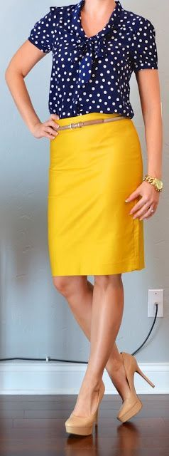 Navy polka dot blouse & Mustard yellow skirt. Cute & trendy casual outfit for work.