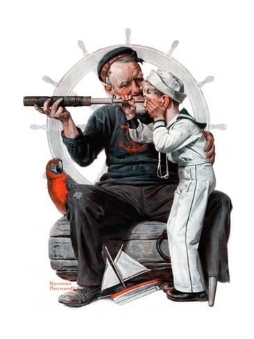 """Setting One's Sights"" or ""Ship Ahoy"", August 19,1922 Lámina giclée por Norman Rockwell en AllPosters.es"