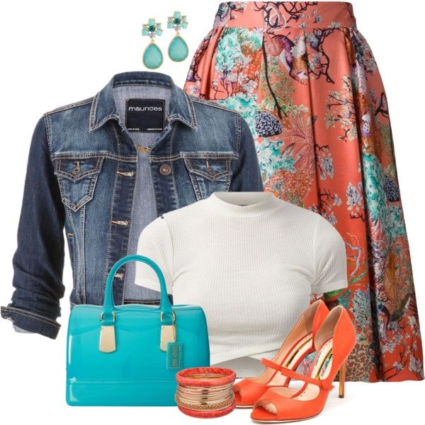Denim jacket and floral skirt by ginga1203 on Polyvore featuring moda, maurices, Mary Katrantzou, Rupert Sanderson, Furla and Ashley Stewart