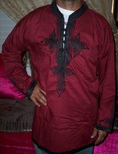 VINTAGE MOROCCAN MEN SHIRT BURGUNDY LARGE Islamic Products Muslim Clothing