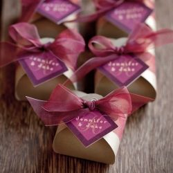 Burgundy and gold wedding favors with personalized tags ...