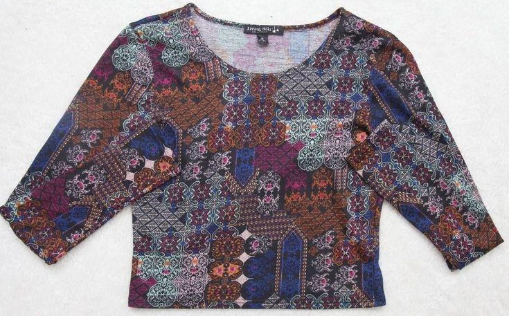 Living Doll Los Angeles Tee Shirt Long Sleeve Womens Medium Poly Multi-Colored #LivingDollLA #EmbellishedTee