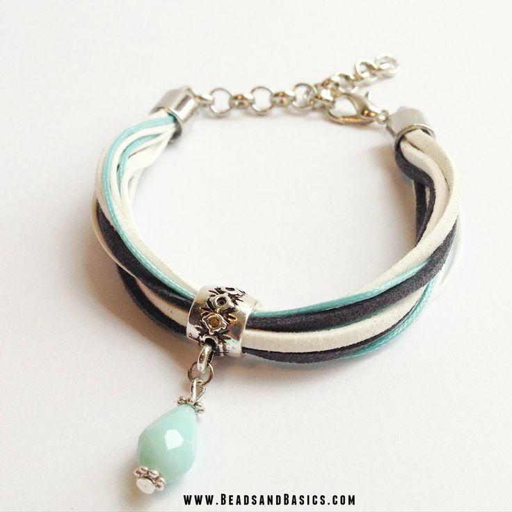 Suede Veter en Waxkoord Armband Blauw- Beads & Basics | Online Kralen Kopen…