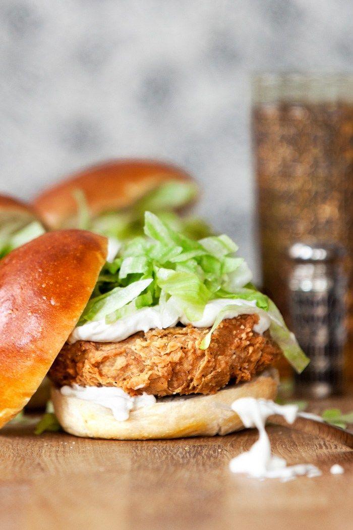 Vegan chicken burger recipe (vital wheat gluten, nutritional yeast, vegetable broth, egg whites, breadcrumbs)