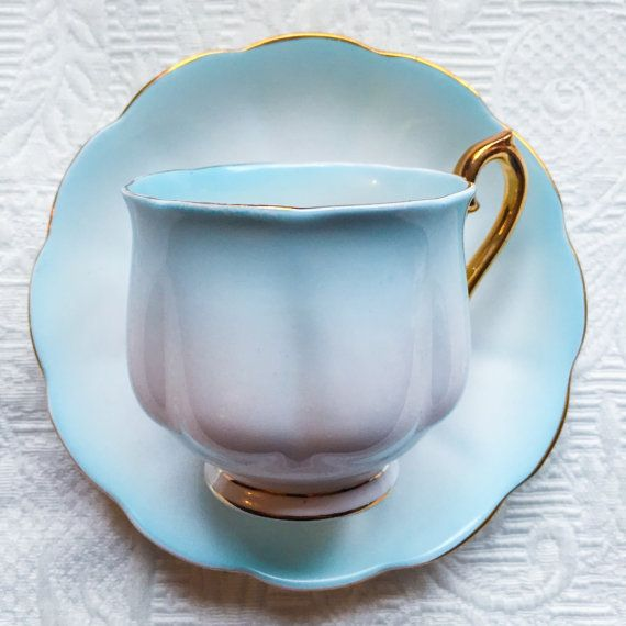 Sophisticated and Soft Pastel Blue Royal Albert 1930's Rainbow Teacup and Saucer