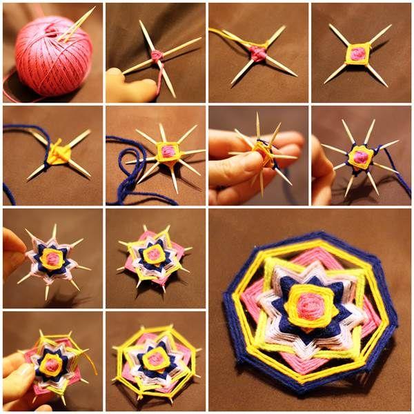 DIY Weave a Mandala Brooch with Toothpicks 3