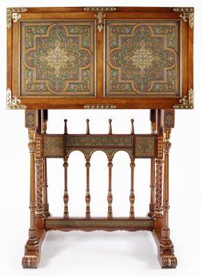 35007284. VIDAL JEVELLÍ, Francesc (Barcelona, 1848 – 1914). Bargueño, hacia 1900. Nogal, metal y esmaltes. Estampillado. Medidas: 100,5 x 102 x 45,5 cm.