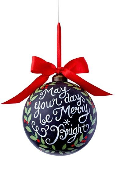 Free shipping and returns on Sage & Co  'Your Days' Chalkboard Ornament at Nordstrom.com. A festive holly wreath encircles the cheery holiday sentiment painted atop a glass chalkboard-style ornament tied with a big red bow.