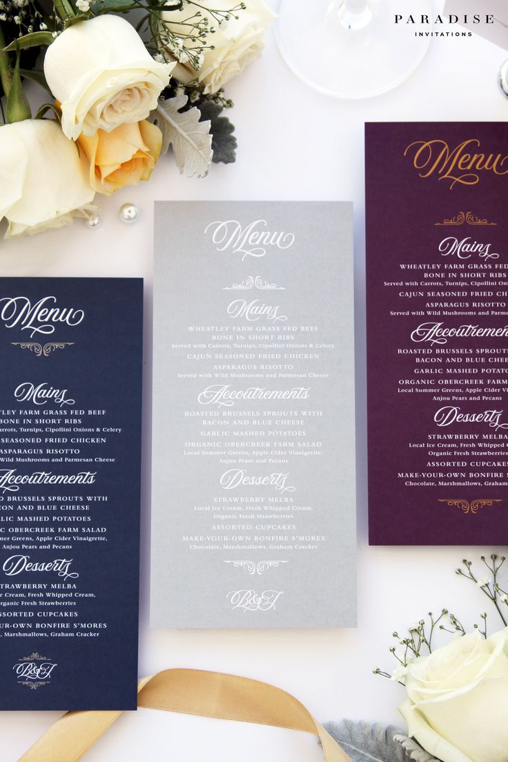 Laura Blush and Navy MENUS, Printable Menus or Printed Menus, Navy and Ivory Elegant Menus, Wedding Table Stationery