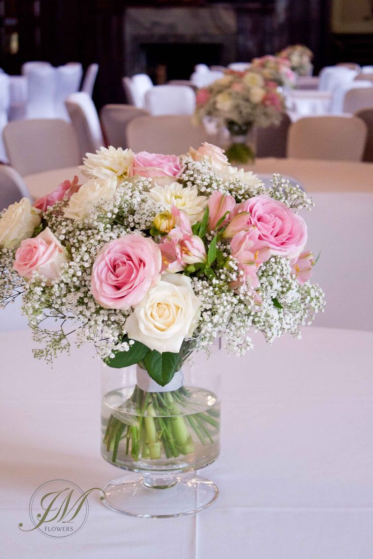 Wedding Table Arrangement Made Of Gypsophila Pink Roses