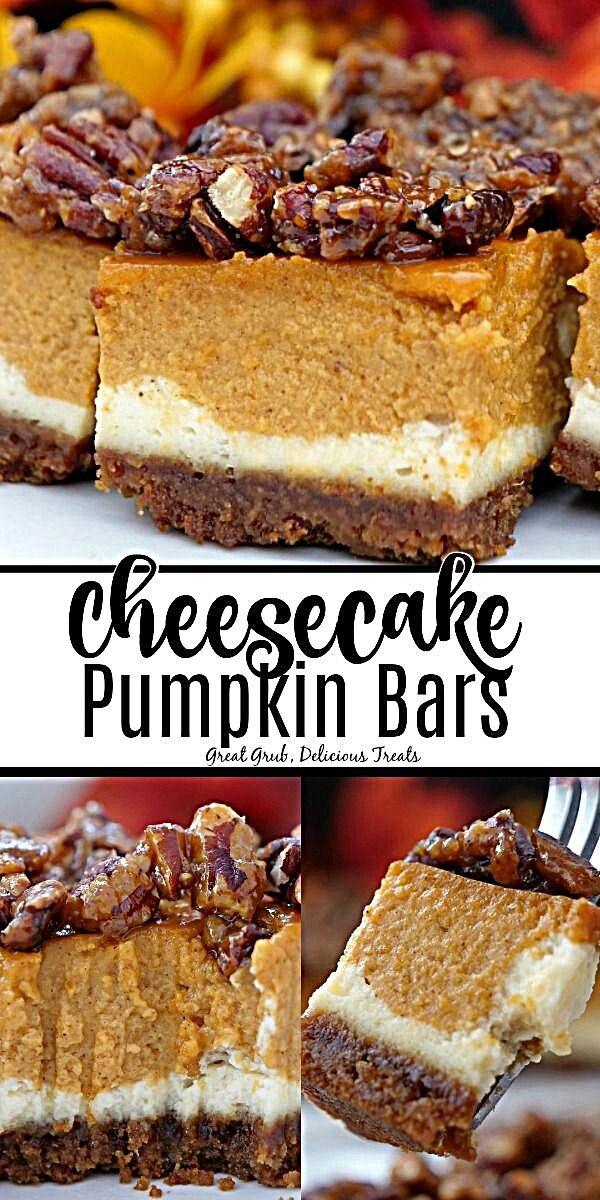 - Cheesecake Pumpkin Bars are both a cheesecake and a pumpkin pie all in one dessert, then topped with candied pecans. #cheesecake #pumpkinpie #desserts #delicious #greatgrubdelicioustreats #recipestonourish #foodofmumbai #foodinspo #recipevegan #recipeupdates #foodporno #foodstagram #foodart #RecipesThatCrock #RecipeOrganization #foodfotography #foodtrucks #recipeidea #foodpicture #recipesforselflove