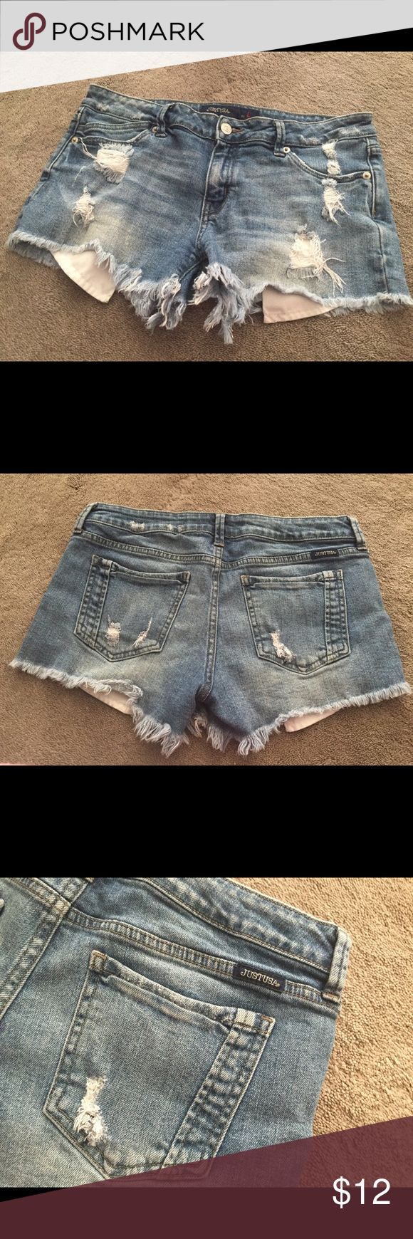 Destroyed denim short shorts, used good condition Very cute denim shorts destroyed with a 3 inch inseam and frayed hem Just USA Shorts Jean Shorts