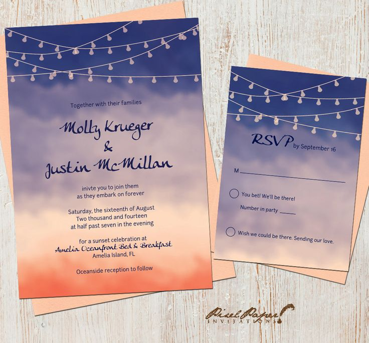 beach wedding invitation examples%0A Wedding Invitation Suite   Sunset  Beach  Watercolor  Navy and Coral  Lights