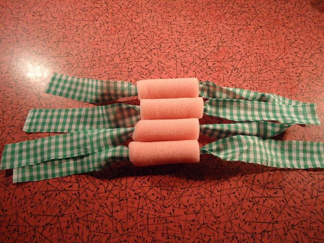 Genius. Replace plastic in sponge curlers with fabric strips. No dents and more comfy to sleep in.