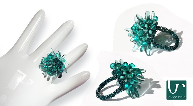Fuzzy turquoise wire crocheted ring http://www.vargareka.com/