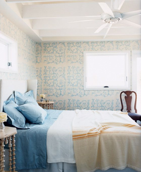 Very pretty room: Wall Patterns, New Orleans, Colors Combos, Guest Bedrooms, Blue, Interiors Design, Domino'S Magazines, Cozy Bedrooms, Wall Design