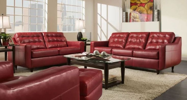 8 Red Faux Leather Sofa Options That, Red Faux Leather Sofa And Loveseat