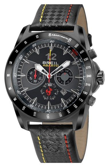 Men's Breil 'Abarth' Chronograph Leather Strap Watch