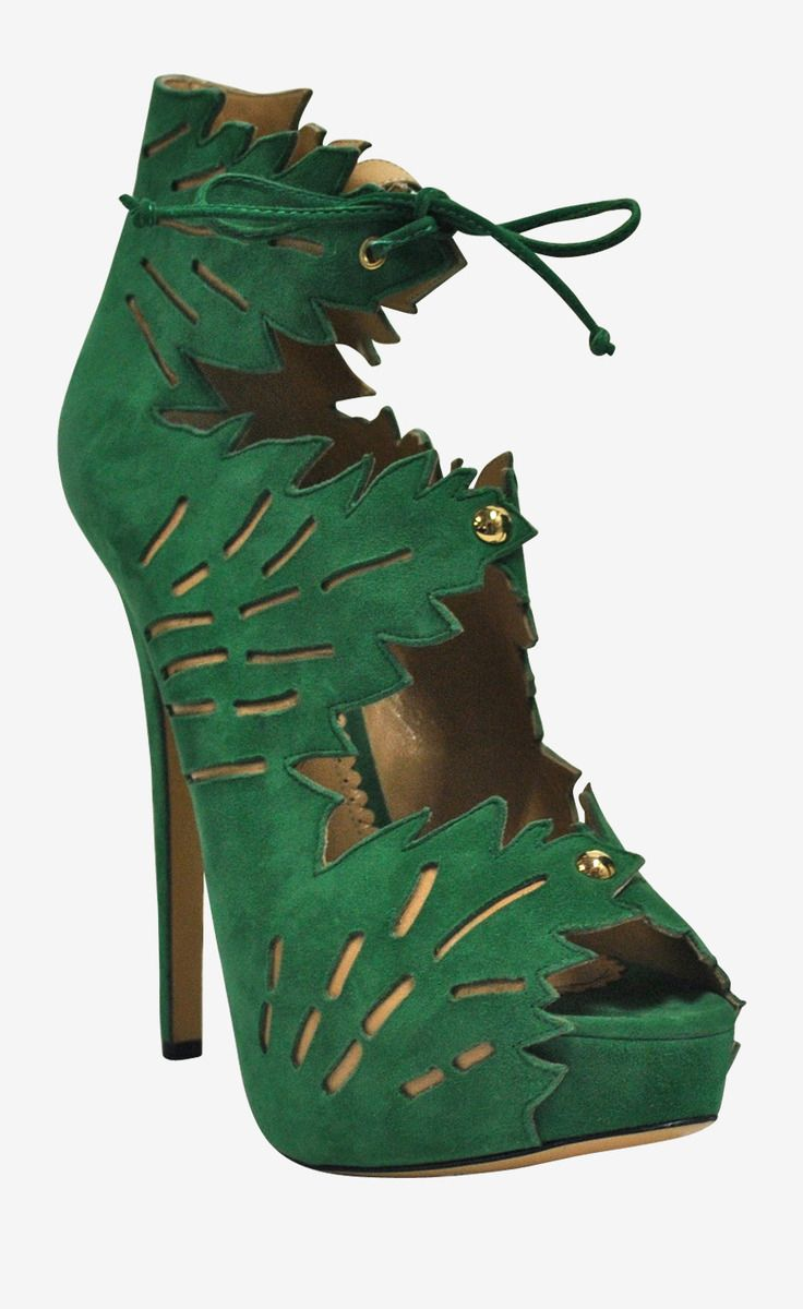 """So pretty.... Charlotte Olympia Green Suede """"Eve"""" Booties 