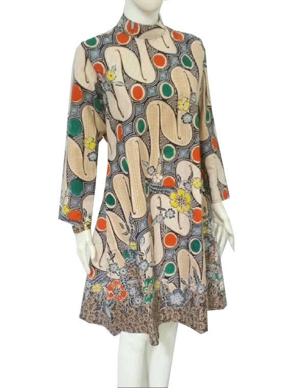 Ethnic Indonesian Javanese Tunic Dress Batik Parang Bagong Long Sleeve All Size