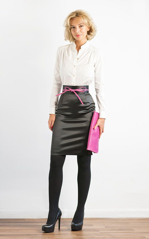 black satin pencil skirt with pink belt white